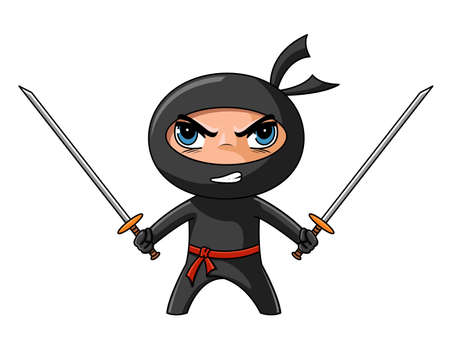 combative: Cute furious ninja with katana ready to attack
