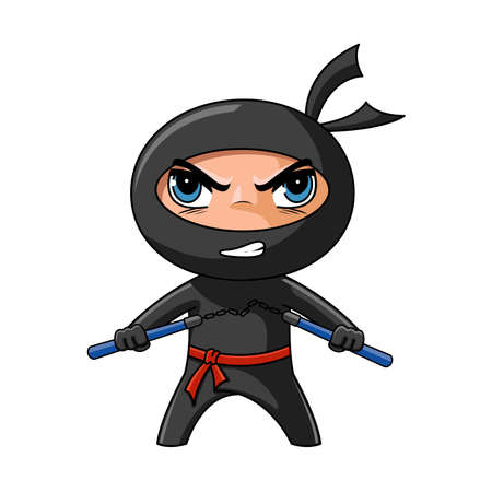 cartoon warrior: Carino ninja furioso con nunchaku pronti ad attaccare Vettoriali