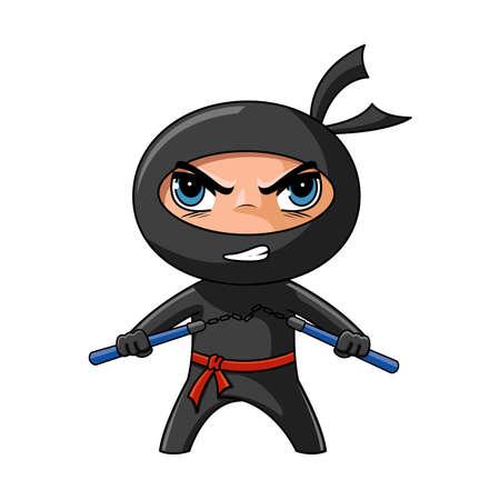 guerrero samurai: Lindo ninja furioso con nunchaku listo para atacar Vectores