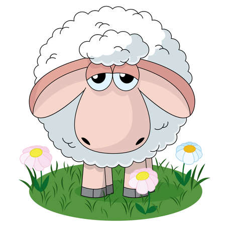 one animal: Illustration of farm sheep standiing on pasture