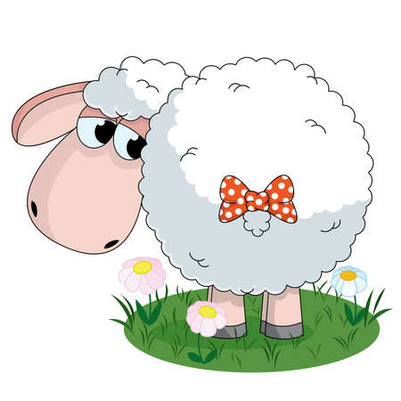 Illustration of sheep looking on the tail with bow on pasture Illustration