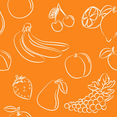 Doodle seamless with different fruits on orange background Vector