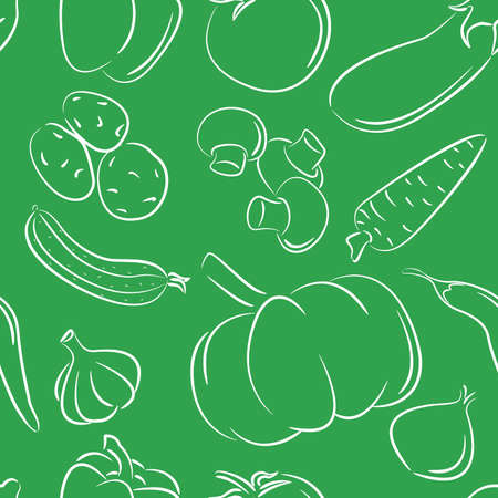 Doodle seamless pattern with different vegetables on green background Vector