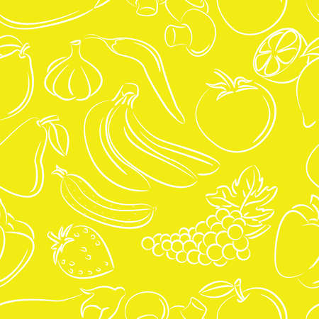 Doodle seamless with different fruits and vegetables on yellow background Vector