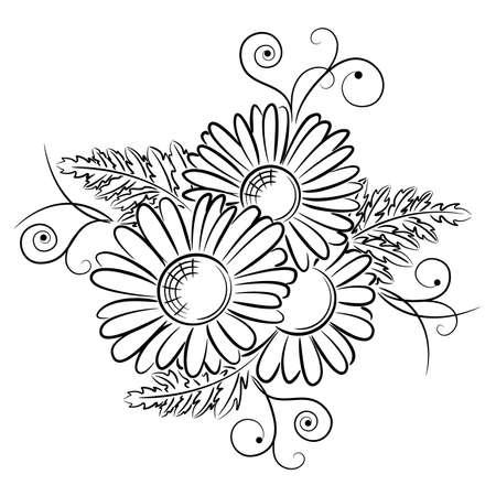Tres margaritas hermosas con remolinos y desplazamiento aislados sobre fondo blanco Ilustración de vector