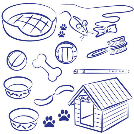 kennel: Doodle collection of pet supplies for dogs and cats Illustration