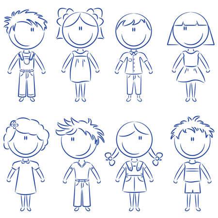 Cut doodle happy kids isolated on white background Illustration