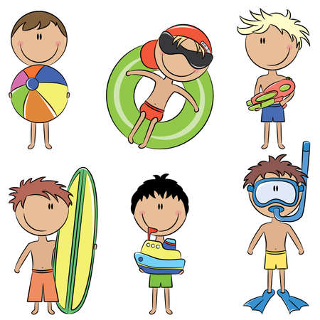 cartoon surfing: Color doodle with cute happy kids on the beach isolated on white background Illustration