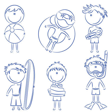 Doodle with cute happy kids on the beach isolated on white background Vector