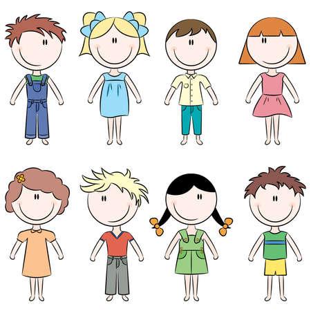Cute Doodle glücklich Kinder auf weißen Hintergrund isoliert