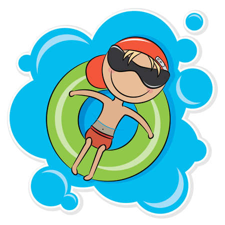 pool fun: Illustration of a young cheerful boy relaxing on tube