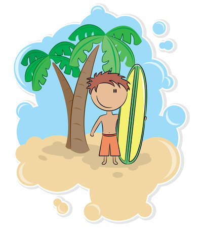 cartoon surfing: Illustration of the cheerful boy with surfboard on the beach