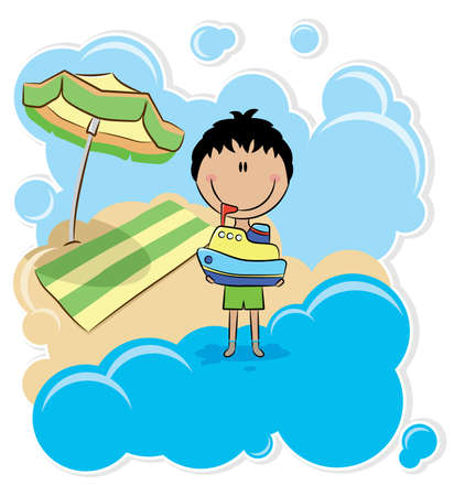 Cheerfull boy playing with ship on the beach Vector