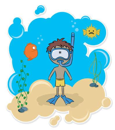 undersea: Chico alegre nadando bajo el agua en la playa