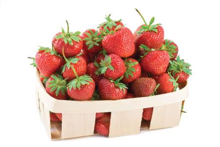 box big: Basket of farm fresh strawberries isolated on white background Stock Photo