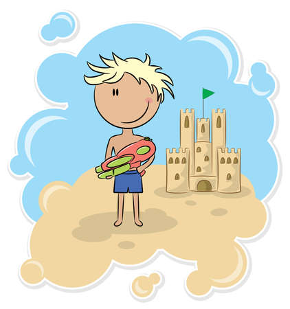Cheerful boy boy protects the sand castle by water pitsol Stock Vector - 7173561
