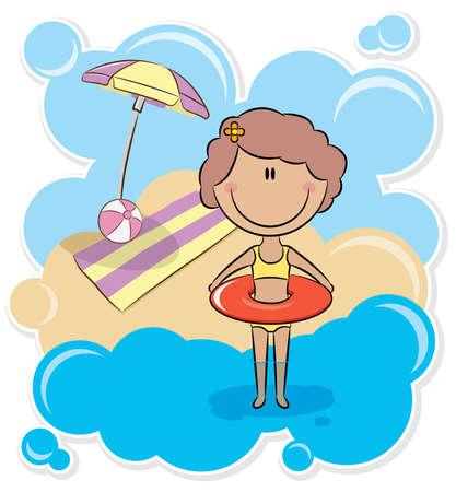 beach ball girl: Cheerful cute girl with inner tube on the beach Illustration