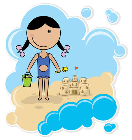 Cheerful girl make the sand castle on the beach Vector