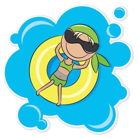 ni�os nadando: Ilustraci�n de una ni�a alegre relajante sobre el tubo interior