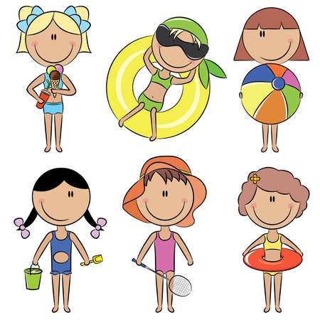 beach ball girl: Color doodle with cute happy kids on the beach isolated on white background Illustration
