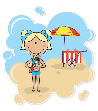 woman eat: Ni�a alegre con helado en la playa