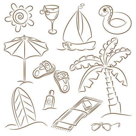 playa caricatura: Playa de verano doodles aislado sobre fondo blanco