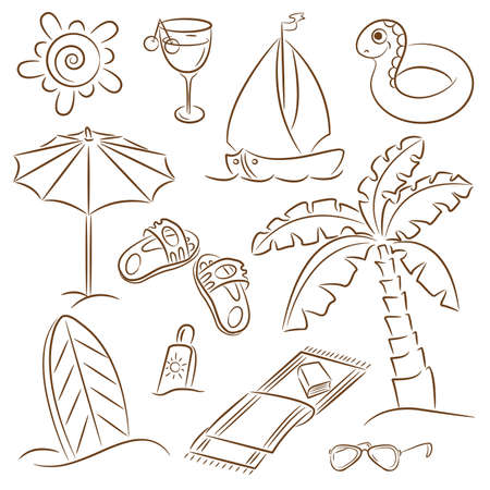 Summer beach doodles isolated on white background Vector