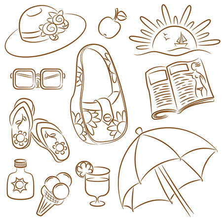 Collection of doodle on summer female vacation theme Vector