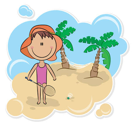 enfant maillot de bain: Joyeuse fille joue badminton sur la plage.