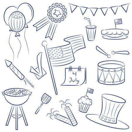 Doodle objects on the independence day theme isolated on white background Vector