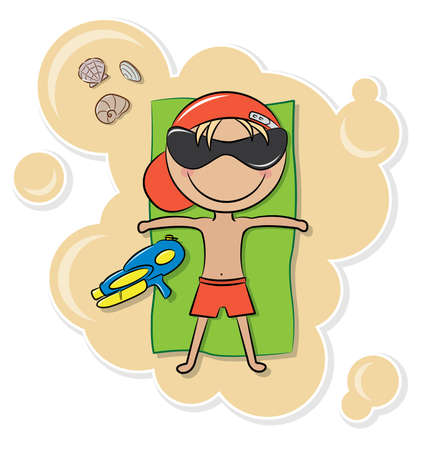 Cheerful cute boy relax on the beach after game with water pistol Vector