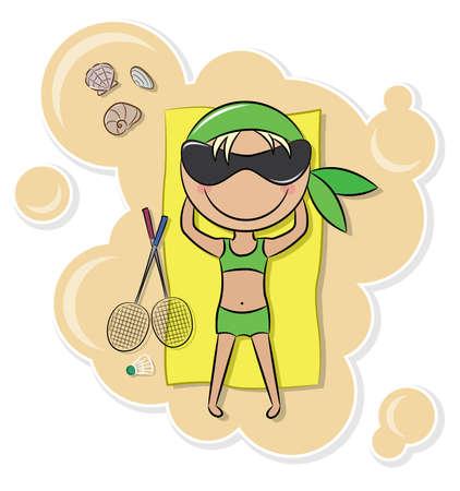 teenage girl bikini: Cheerful cute girl relax on the beach after badminton game