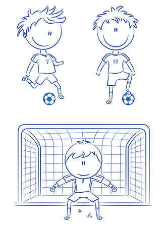 soccer net: Doodle collection of cheerful soccer players Illustration