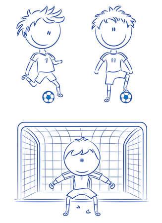 jugadores de soccer: Garabatear colecci�n de jugadores de f�tbol alegre  Vectores
