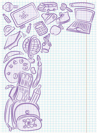Cadre de Doodle avec des objets scolaires dessin sur la page