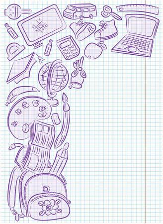 objetos escolares: Garabatear fotograma con objetos de la escuela de dibujo en la p�gina