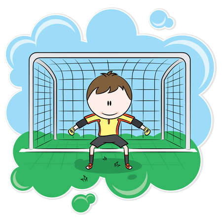 Cute soccer goalkeeper on the gate Vector