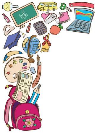 objetos escolares: Garabatear fotograma con objetos de escuela aislados sobre fondo blanco