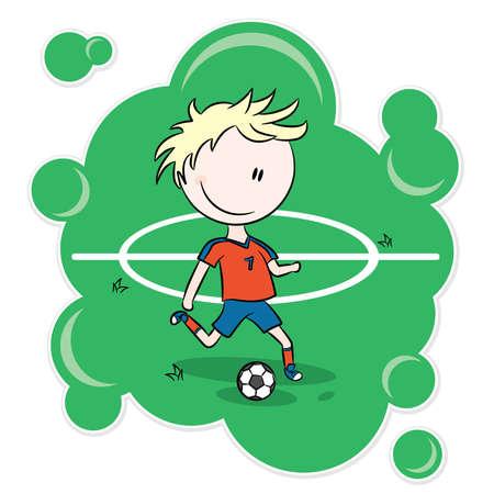 athlete cartoon: A boy getting ready to kick a soccer ball