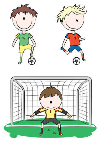 soccer fields: Doodle collection of cheerful soccer players Illustration