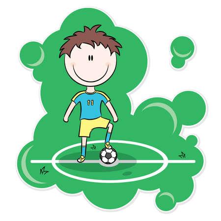 game boy: Cartoon footballeur reposer sur le terrain de balle