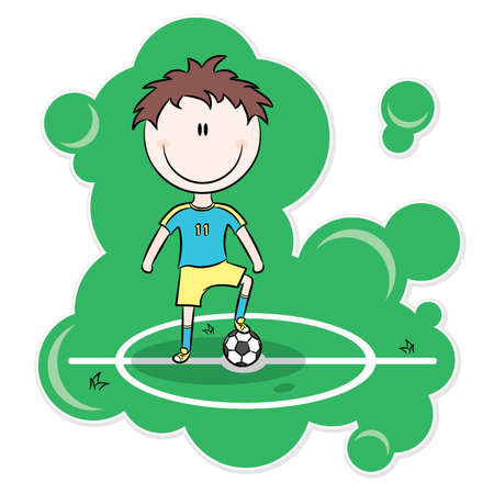 Cartoon soccer player stand on the field with ball Stock Vector - 7341914