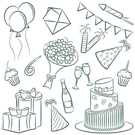 A cartoon doodle with a birthday theme.