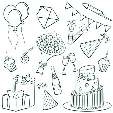 A cartoon doodle with a birthday theme. Stock Vector - 7370559