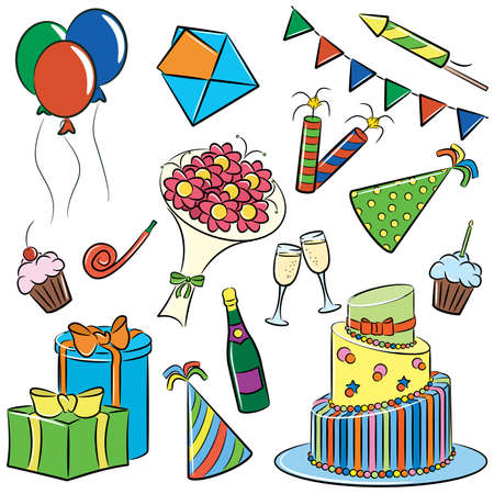 A cartoon color doodle with a birthday and party themes.  Vector