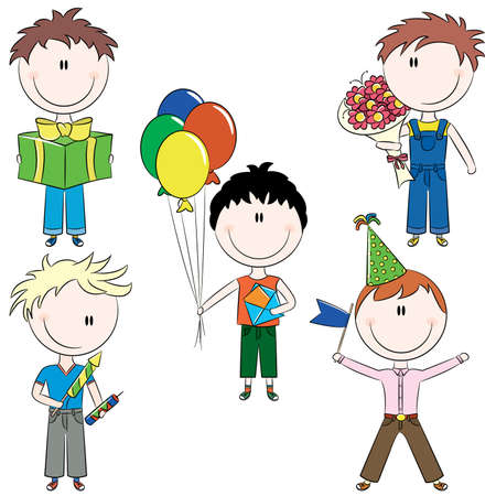 Cute doodle cheerful kids with birthday and holiday symbols, greeting cards and balloons