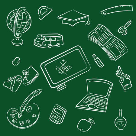 Doodle set with public school and graduation objects isolated on blackboard