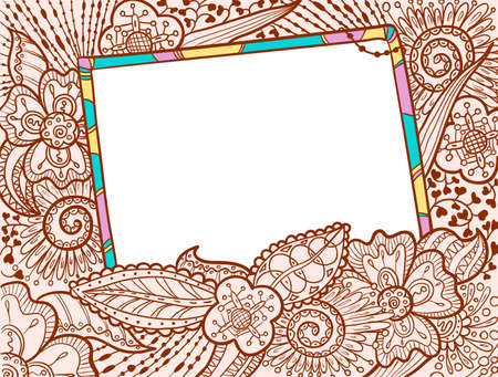 doodle art: Hand drawn doodle color frame decorate by floral ornament