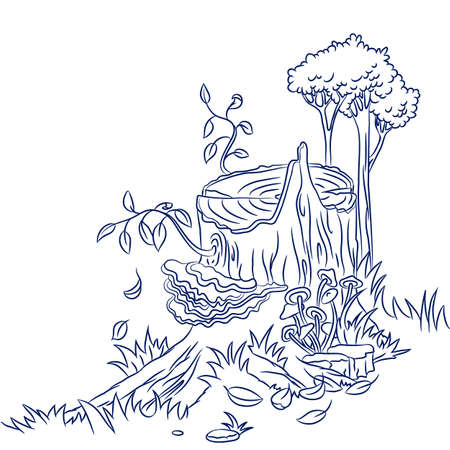 Cute doodle old stump with mushrooms and new branch with leaves Vector