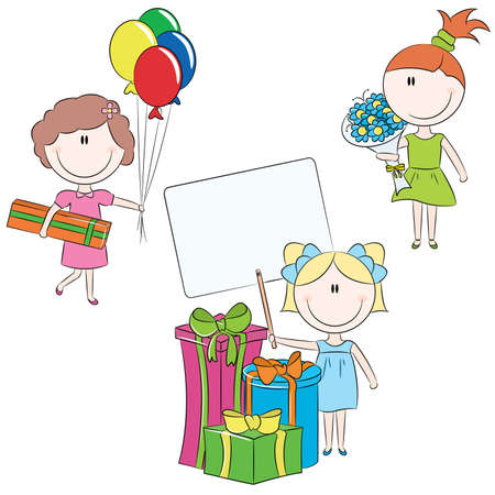 cartoon little girl: Cute doodle cheerful kids with birthday and holiday symbols